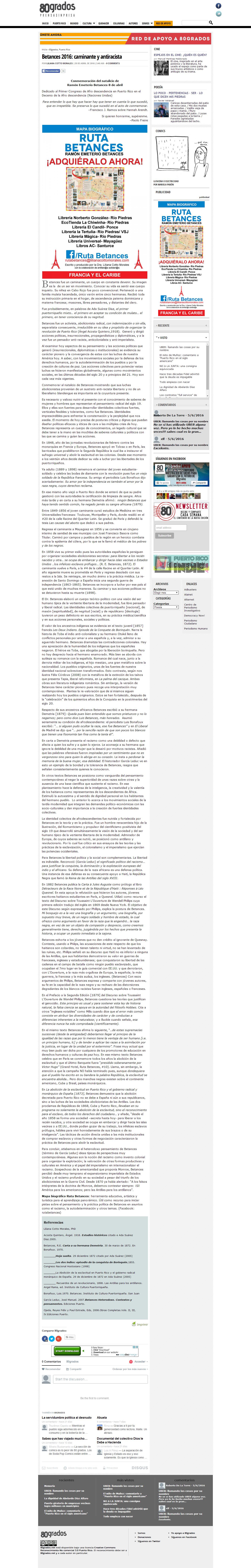 80grados.net » Betances 2016 caminante y antiracista