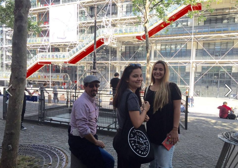 Tarde de museos. El grupo se desbanda y nuestras amigas viisitan Museos Pompidou y el Louvre en la vecindad del Quartier Latin.
